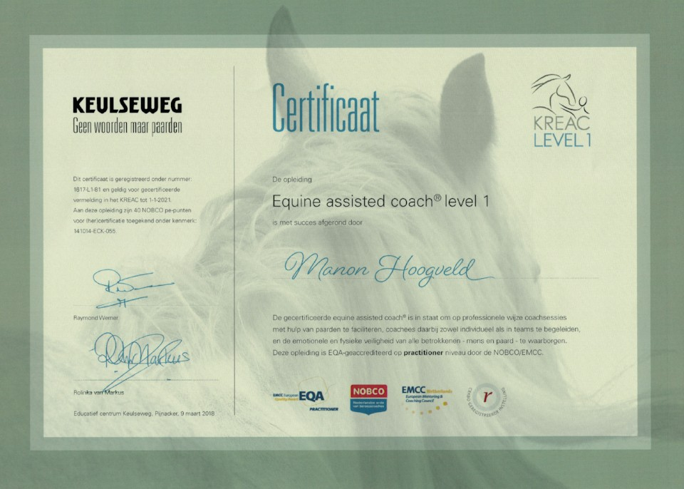 KREAC Certificaat Equine Assisted Coach Hoogveld Coaching